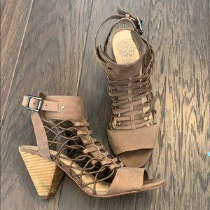 Heeled leather sandal